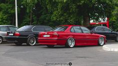 "BMW E38 Imola rot 730d Work Rezax 2 20"" and 740i witn BBS RX2 21"""