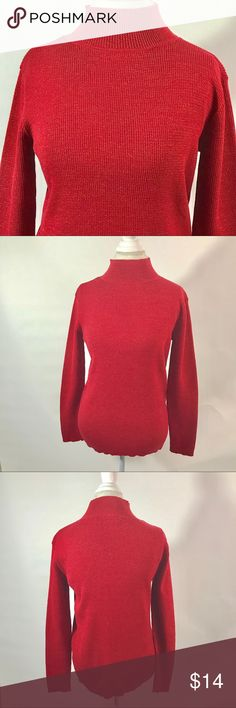 Laura Scott red turtleneck size large Red glitter turtleneck. Colors may vary slightly to lighting and photos. No holes, rips or stains. Measurements approximately as shown. ❌Smoke and pet free home. ⚡️Same/next day shipping. 💲Save by bundling or make a reasonable offer through the offer button. 🚫No holds, trades or modeling. 📦Wrapped and shipped with care. Laura Scott Sweaters Cowl & Turtlenecks