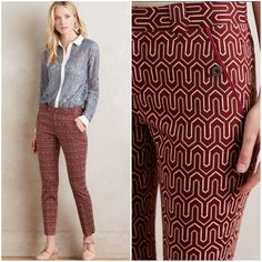 """NWT Anthropologie Geometric Print Charlie Trousers NWT Anthropologie Cartonnier Retro Geometric Print Cropped Charlie Trousers --- Size 10 --- Inspired by the tailoring of a gent's suit, our exclusive Charlie is the talk of the town. With an impeccable, curve hugging fit in a cropped length that complements gals of every stature, this pair from Cartonnier goes from totally tomboy to flat out femme with the swap of a top and shoes. --- 16.5"""" waist, 27"""" inseam --- 97% cotton 3% lycra…"""
