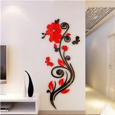 Beautiful Acrylic Flower Shape Home Decorative Wall Stickers wall art - Wall Art Simple Wall Paintings, Wall Painting Decor, 3d Wall Art, Wall Murals, Wall Art Designs, Paint Designs, Wall Design, Diy Wall Stickers, Decorative Stickers