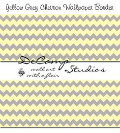Yellow and Grey Chevron wallpaper wall art border decals for baby girl or boy nursery and children's room decor #decampstudios