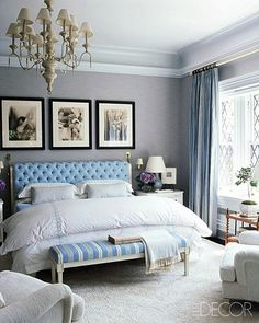 South Shore Decorating Blog: 35 New Inspiring Bedrooms (So Many Styles, So Few Bedrooms to Decorate!) - love the wall treatment and moulding
