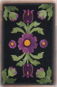 Table Topper and Table Runner Patterns for wool applique offered by Pumpkinvine Corner