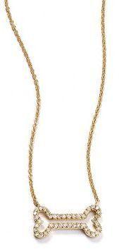 Anthropologie Liven Co. Diamond Dainty Dog Bone Necklace in 14k Gold on shopstyle.com