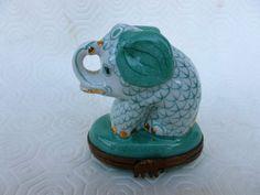 Limoges Peint Main Elephant Trinket Box