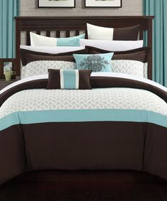 Loving this Brown & Teal Lucca Embroidered Bed-in-a-Bag Comforter Set on #zulily! #zulilyfinds