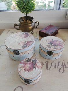 Set 3 cajas decoradas con papel de arroz Decoupage Vintage, Aurora, Decorative Boxes, Home Decor, Rice Paper, Stencil, Decorated Boxes, Wood, Decoration Home