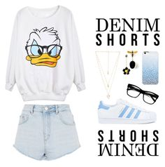 """Duck"" by indigochameleon ❤ liked on Polyvore featuring Natalie B, Topshop, adidas and Ray-Ban"