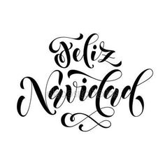 Feliz Navidad modern lettering for Spanish Merry Christmas greeting holiday card. Vector hand drawn festive text for banner, poster, invitation on white background. Christmas Flyer, Merry Christmas Greetings, Christmas Stickers, Christmas Quotes, Christmas Poster, Merry Christmas In Spanish, Spanish Holidays, Holiday Signs, Christmas Signs