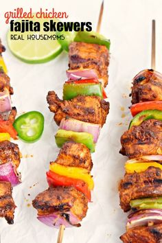These GRILLED CHICKEN FAJITA SKEWERS have all of the flavors of a classic fajita on a stick!