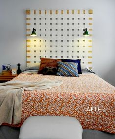 Credit: Mad In Crafts woven headboard made from old vertical blinds awesome!