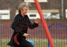 Just like Matt Smith when it comes to playgrounds. Lol It's a Time Lord thing. 12th Doctor, Twelfth Doctor, I Fall In Love, Falling In Love, Peter Capaldi Doctor Who, Matt Smith, Time Lords, David Tennant, Dr Who