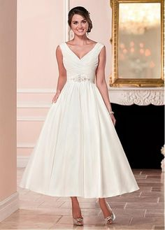 Buy discount Attractive Satin V-neck Neckline A-line Tea-length Wedding Dress With Beadings at Magbridal.com