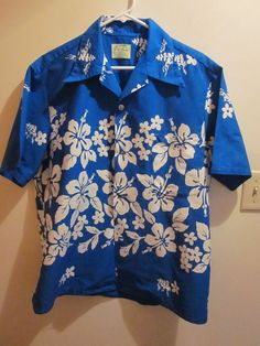 Ui-Maikai Hawaiian Hibiscus Print shirt Vivid Blue with White Hibiscus #UiMaikai #HawaiianShirt