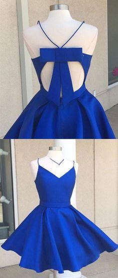 Simple v neck blue short prom dress. cute homecoming dress N10297