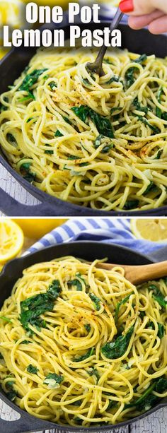 These lemon spaghetti with spinach are the perfect dinner recipe for busy weeknights! I love making one pot meals! They're so easy and comforting. This is one of my favorite vegan dinner recipes!