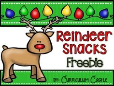 """Your students will love making """"Reindeer Food"""" and """"Reindeer Sandwiches"""" to celebrate this Christmas season! Great for teaching measuring skills and following directions. We also included a """"Parts of a Reindeer"""" cut & paste labeling activity for your kiddos."""