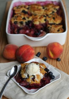 Peach Blueberry Cobbler! (as an ice cream)
