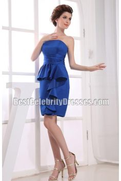 Short Royal Blue Strapless Party Gown Homecoming Dress