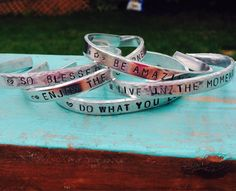 Motivational Cuffs by JewelryWithWords on Etsy Be amazing Do what you love So blessed Live in the moment