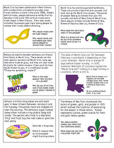 Mardi Gras Reading Comprehension & More! {with non-fiction passages & questions} - Mardi Gras Reading & Responding & More! {with non-fiction text} - Louisiana Mardi Gras, New Orleans Mardi Gras, Mardi Gras Centerpieces, Mardi Gras Decorations, Masquerade Decorations, Mardi Gras Outfits, Mardi Gras Costumes, Mardi Gras Food, Mardi Gras Beads