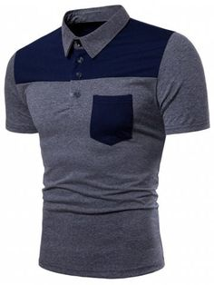 Pocket Design Color Block T-shirt – Men Cardigans & Sweaters – Men Polo Collar Shirts, T Shirt Vest, Polo T Shirts, Mens Collared Shirts, African Men Fashion, Mens Clothing Styles, Men's Fashion, Design Color, Casual Shirts
