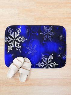 """Royal Blue Snowflake Motif"" Bath Mat by HavenDesign 