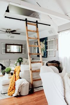 We've been planning this project for years! We have a nook above our living space that was not functinoal as it was not accessible. I've been dreaming of a slid… Cheap Diy Home Decor, Diy Home Decor Projects, Decor Ideas, Vintage Ladder, Loft Stairs, Mezzanine Loft, Library Ladder, Cozy Room, Living Spaces