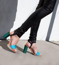 Loeffler Randall   green and aqua color block heel