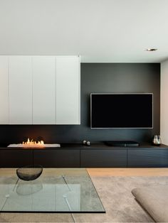 Modern Fireplace with Tv On Side . Modern Fireplace with Tv On Side . Home Fireplace, Modern Fireplace, Living Room With Fireplace, Fireplace Design, Rugs In Living Room, Living Room Interior, Home Interior Design, Home And Living, Custom Fireplace