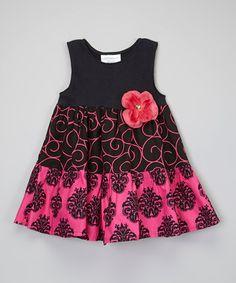 Pink & Black Swirl Tiered Dress - Infant, Toddler & Girls