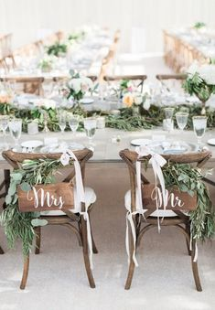 chic rustic wedding chair decoration ideas with greenery and ribbon wedding chairs 20 Elegant Wedding Chair Decoration Ideas with Fabric and Ribbons - Page 2 of 2 - Oh Best Day Ever Wedding Chair Decorations, Wedding Chairs, Wedding Centerpieces, Wedding Table, Wedding Ceremony, Tall Centerpiece, Wedding Shot, Wedding Favors, Romantic Weddings
