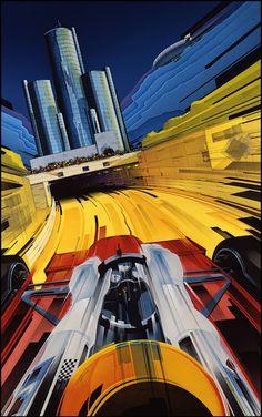 Detroit Grand Prix poster gouache on illustration board