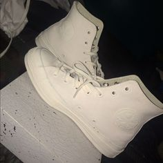 Flash sale‼️HP✨Maison Martin MargielaXConverse Unique chuck Taylor's painted white. You discover the original color of the shoes as the paint begins to fade eventually. Size 8. Include MargielaXConverse dust bag, box  & extra shoe lace. Maison Martin Margiela Shoes Sneakers