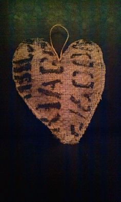 Burlap coffee bag heart