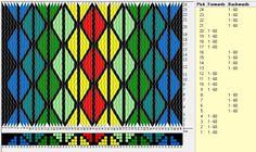 60 cards, 7 colors, repeats every 8 rows, GTT ༺❁ Inkle Weaving, Inkle Loom, Card Weaving, Weaving Art, Tablet Weaving Patterns, Weaving Textiles, Loom Patterns, Finger Weaving, Hugo Weaving