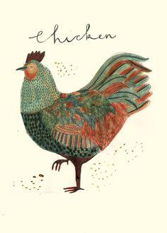 Chicken Illustration, Bird Illustration, Chicken Art, Chickens And Roosters, Bird Art, Farm Animals, Folk Art, Art Projects, Drawings