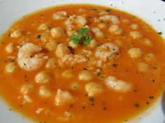 Garbanzos con gambas y arroz con Thermomix
