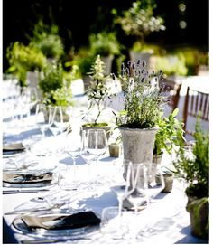 Herb centerpieces on the tables - they can double as take-home favors
