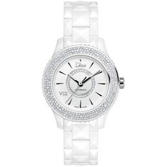 Dior VIII Diamond & White Ceramic Bracelet Watch ($19,175) ❤ liked on Polyvore featuring jewelry, watches, apparel & accessories, white, white ceramic bracelet, water resistant watches, diamond bezel watches, roman numeral watches and roman numeral bracelet