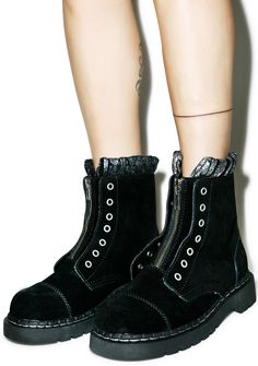 T.U.K. Iridescent Knit Collar Combat Boots | Dolls Kill