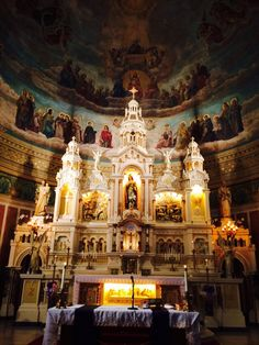 "Apse above altar is a predecessor of Martin Rzeznik's ""Disputa"" found in Corpus Christi Church, Buffalo, NY. Catholic Churches, Cleveland Ohio, Corpus Christi, Romanesque, Byzantine, Art And Architecture, Places To Travel, North America, Buffalo"