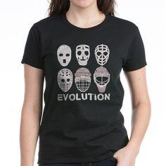 Hockey Goalie Mask Evolution Women's Classic T-Shirt Hockey Goalie Mask Evolution T-Shirt by Brando - CafePress Goalie Mask, Hockey Goalie, Evolution T Shirt, Fade Designs, Tee Shirts, Tees, Short Sleeve Tee, Shirt Designs, Feminine
