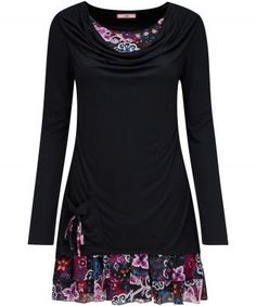 """Enjoy instant style with this beautiful, easy-wearing tunic. With a draping cowl neckline and mock-double layer style, it comes complete with a built-in flirty skirt. Throw it on with a great pair of leggings and feel ravishing. Approx Length: 82cm Our model is: 5'7"""""""