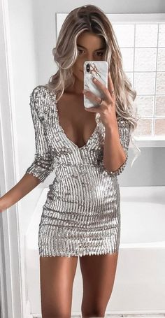 #winter #outfits silver half-sleeved micro dress