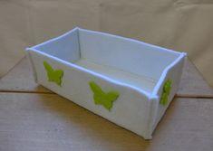 Filzkorb, Weiss mit grünen Schmetterlingen, 19x6x11 cm (BxHxT), CHF 10.- Butter Dish, Felting, Do Crafts