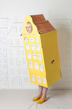 Row house Halloween costume made from a cardboard box