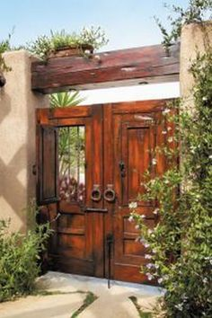 50 Fascinating Wooden Garden Gates Ideas - Lilly is Love Wooden Garden Gate, Garden Gates, Front Gates, Entry Gates, Front Entry, Spanish Style Homes, Spanish House, Fachada Colonial, Hacienda Style