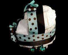 Diaper Bassinet Baby Shower Centerpiece Gift by mylittleangelco, $20.00