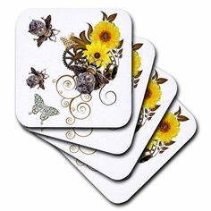 3dRose Steampunk Bees and Flowers Funk Design, Soft Coasters, set of 4